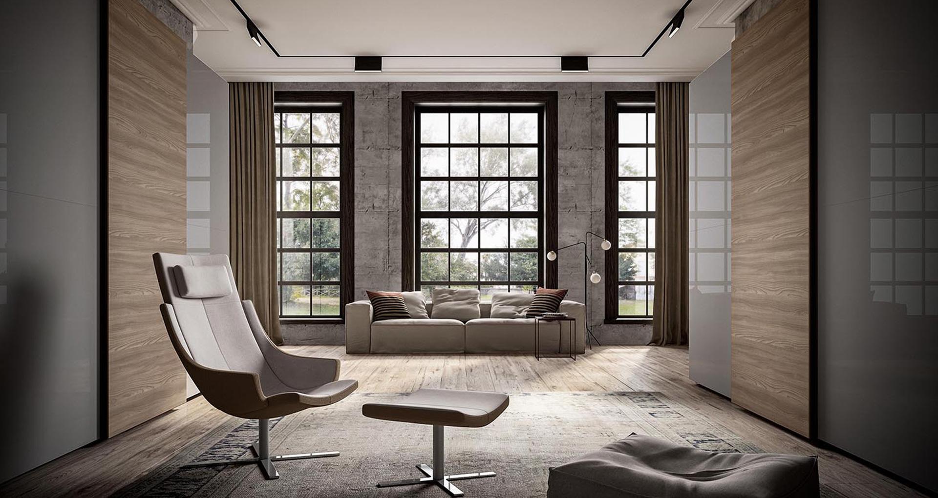 Salotto con sofa e area relax