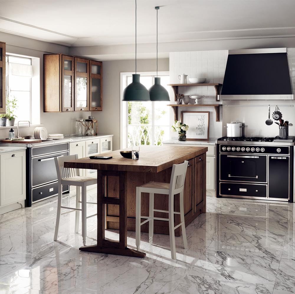 Cucina con bianco, nero e legno