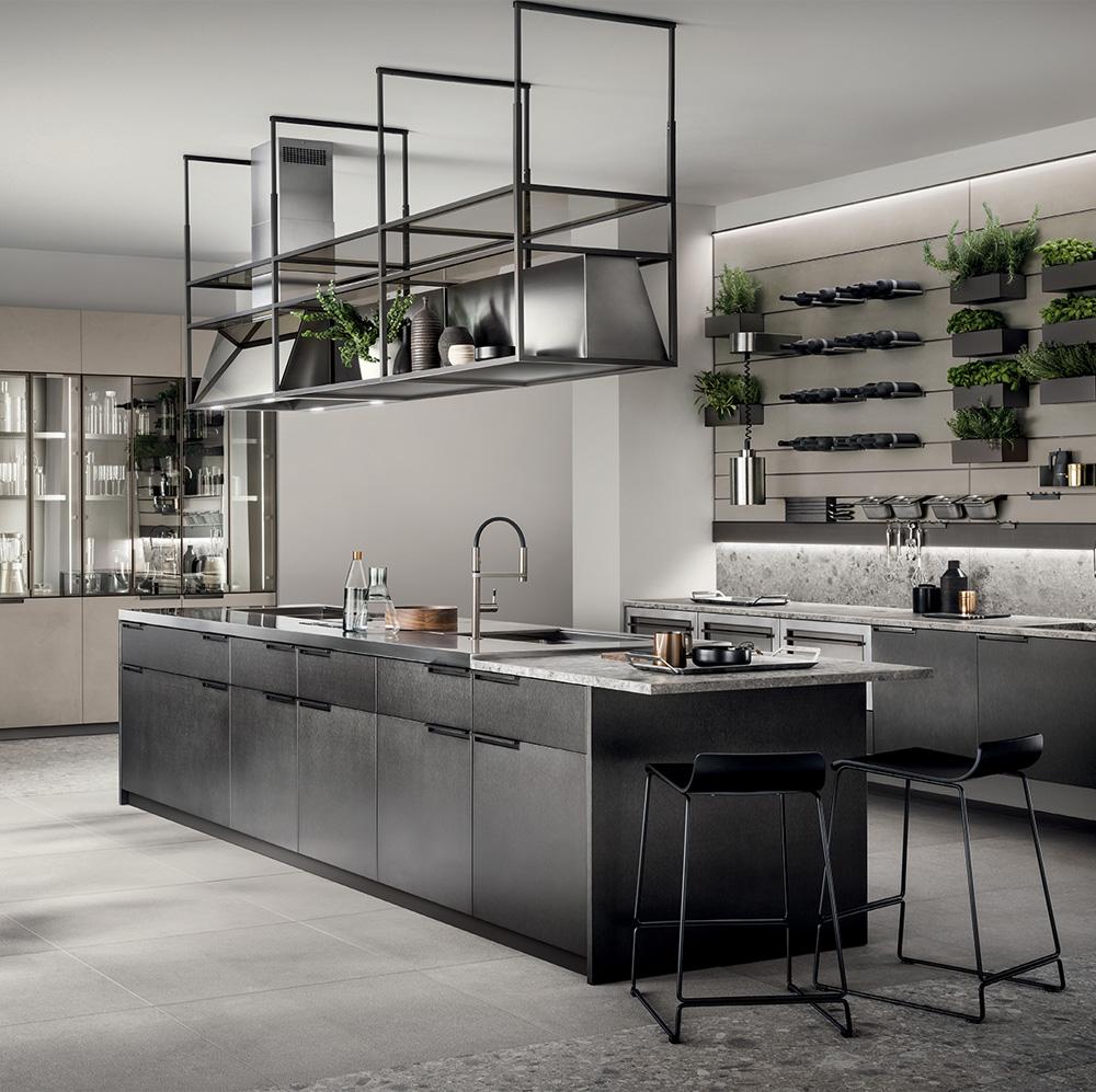 Cucina moderna con arredo color grigio