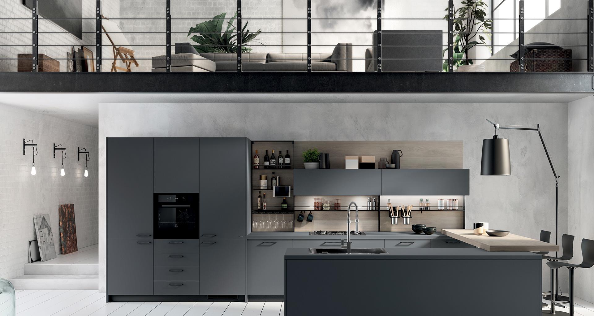 Area cucina con mobili color blu